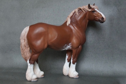 Gustav resin, scale 1:9, painted to a chestnut sabino in 2015