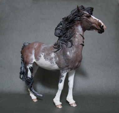 Stormwatch resin, scale 1:9, painted to a roan sabino in 2016