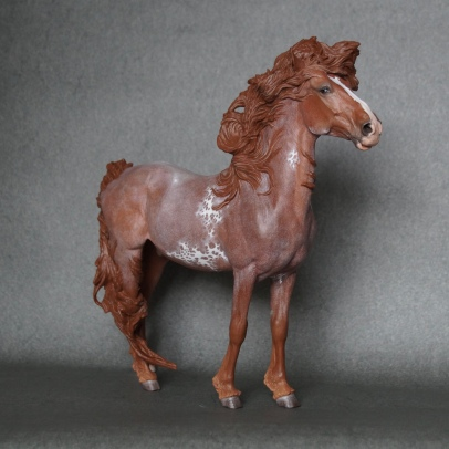 Stormwatch resin, scale 1:10, painted to a red roan sabino